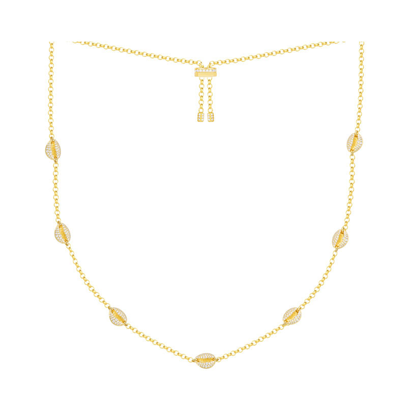 SLJELY 925 Sterling Silver Yellow Gold Color Toi Et Moi Conch Seashell Zircon Necklace Ajustable Choker