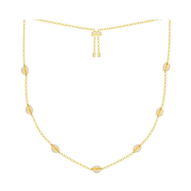 SLJELY 925 Sterling Silber Gelb Gold Farbe Toi Et Moi Conch Muschel Zirkon Halskette Ajustable Choker für Frauen Luxus Schmuck-in Kette Halsketten aus Schmuck und Accessoires bei  Gruppe 1