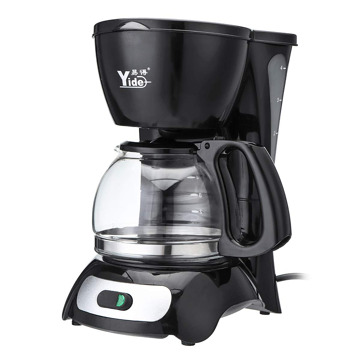 220V 650W 4-Cups Electric Coffee Maker Automatic Insulation Pot Small Drip Commercial American Coffee Machine Kitchen 4-6 People