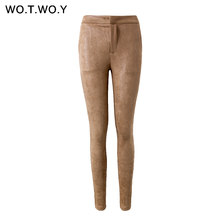 a463d91c9 WOTWOY Shiny Sequined Leather Pants Women Skinny High Waist Suede Pants  Women Stretch Black Trousers Women