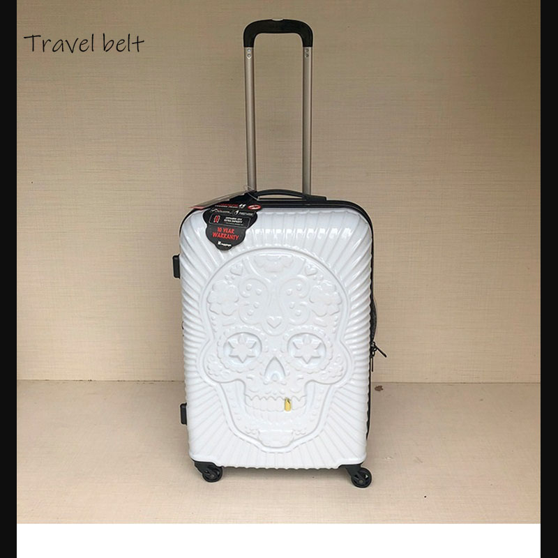 Travel tale personality fashion 19/24/28 Inch Rolling Luggage Spinner brand Travel Suitcase Big golden tooth skullTravel tale personality fashion 19/24/28 Inch Rolling Luggage Spinner brand Travel Suitcase Big golden tooth skull