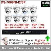 8pcs Hikvision H 265 8MP IP Camera DS 2CD2385FWD I Dome Security CCTV Camera Hikvision NVR