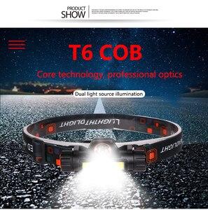 Image 5 - Портативный светодиодный налобный фонарь T6 + COB высокой мощности, перезаряжаемый через USB, водонепроницаемый Головной фонарь
