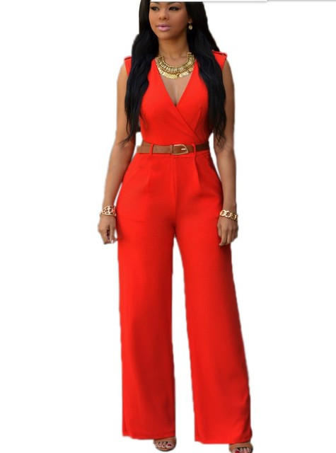 2018 Hot Selling Womens Fashion Jumpsuits Girls Casual Orange Red
