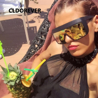 Fashion 2017 Cool Oversized Sunglass Retro Brand Mirror Sunglasses Women Men Steampunk Goggles Big Clear Sun
