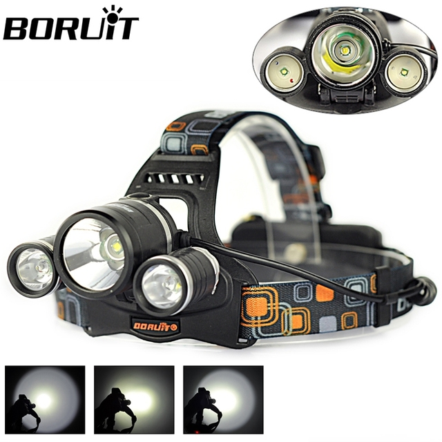 Boruit JR-3001  XM-L T6 +2R5 LED Headlight 18650 Bicycle Bike Headlamp Rechargeable Head Lamp Super Bright Camping