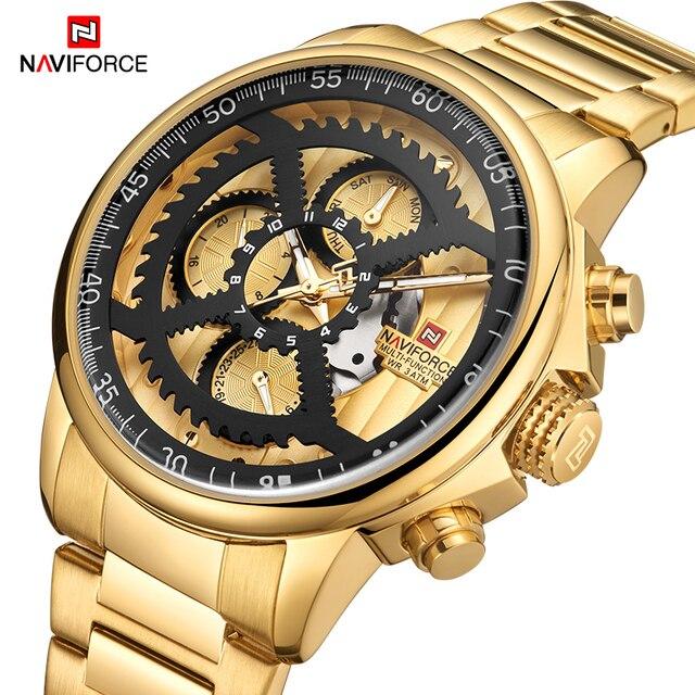 Nieuwe Naviforce Luxe Merk Horloges Mannen Sport Volledige Steel Quartz Horloge Man 3ATM Waterdicht Klok Mannen Militaire Horloges 2020