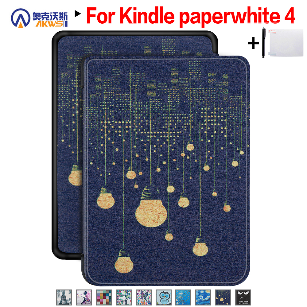 Walkers Slim Case For New Amazon Kindle Paperwhite 4 Ereader Protective Cover Case For 2018 Paperwhite E-book+ Film + Pen