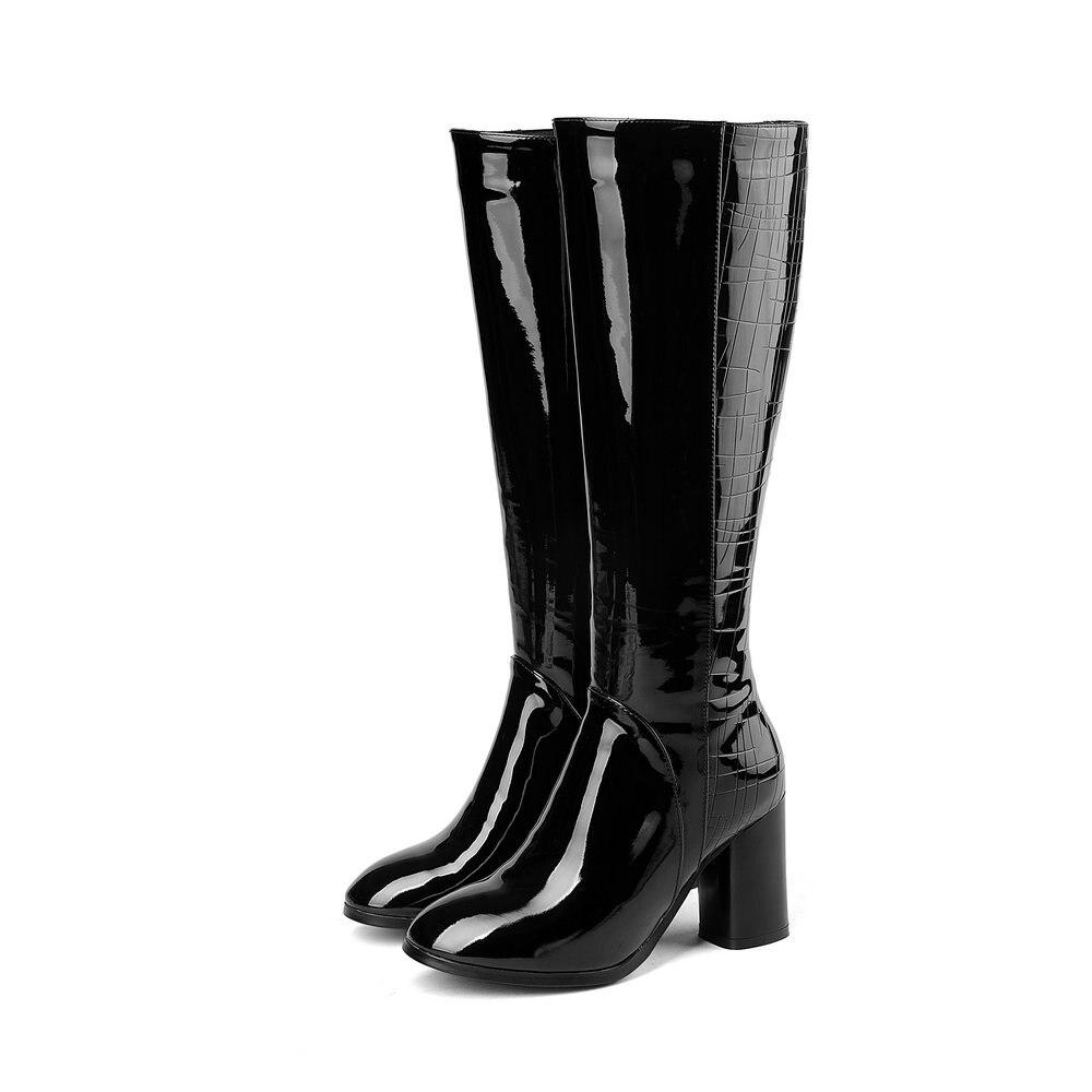 Aiweiyi Long En Épais Cuir Brevet Rond Femme Moto Chaussures Botas Talons Noir Hauts Bout Véritable Haute Bottes Genou AL3q4j5R