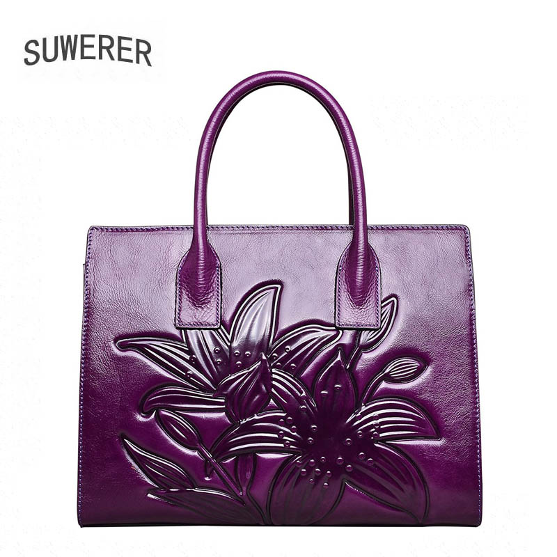 SUWERER 2018 New Women Genuine Leather bags fashion luxury top cowhide Crocodile pattern bags for women leather handbags suwerer women genuine leather bags 2018 new fashion handmade drawing plum flower top cowhide luxury designer women leather bags