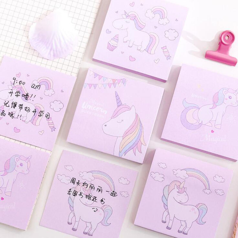 Kawaii Pink Unicorn Post Its Sticker Student Portable Note Book Office Square Message N Times Sticker School Supplies Stationery
