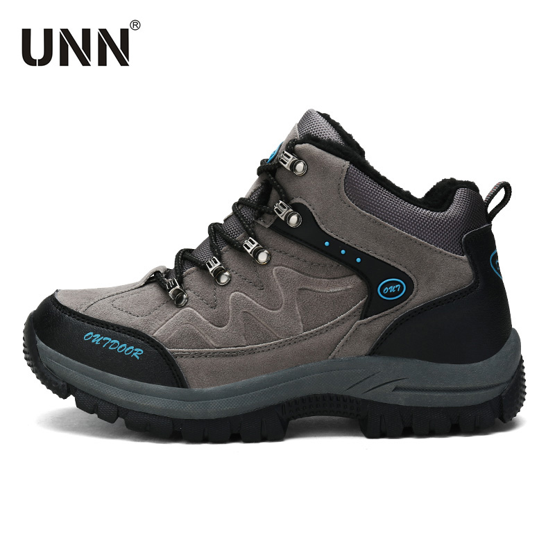 2017 Winter Newest Outdoor Boots Suede Anti-Slippery Women/Men Hiking Shoes Sport With Fur Mens Trekking Shoes Bigger 47 48 mans shoes mountain big size brand shoe men sport anti slippery hiking shoes mens good quality outdoor hiking trainers