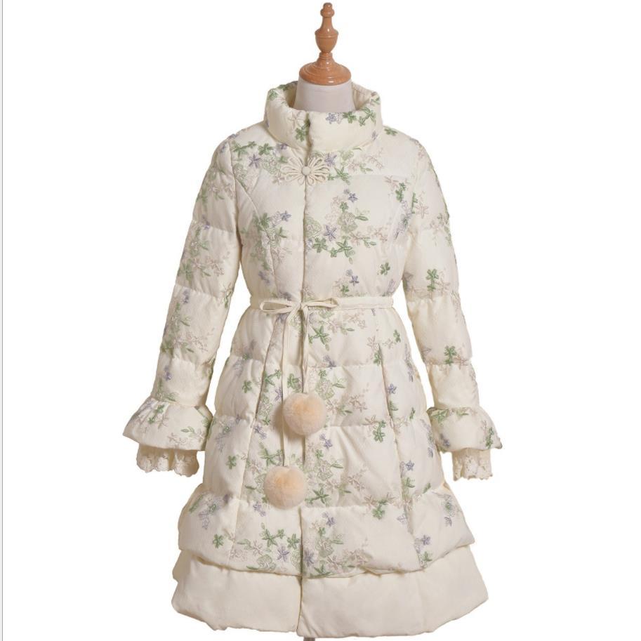 plus size 3XL Winter Women Long Lace Jacket   Down   Parkas Ladies Warm Original Lace Sland Collar flare Sleeve white duck   coat