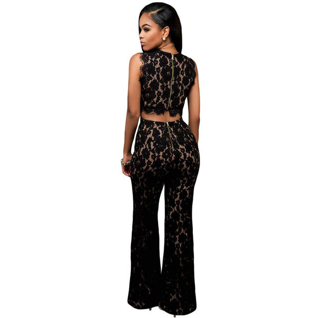 53a3fa911c8 placeholder Zkess Black Lace Jumpsuit Long Pants Women Rompers Sexy Club  Ladies 2017 Belted Solid Elegant Female