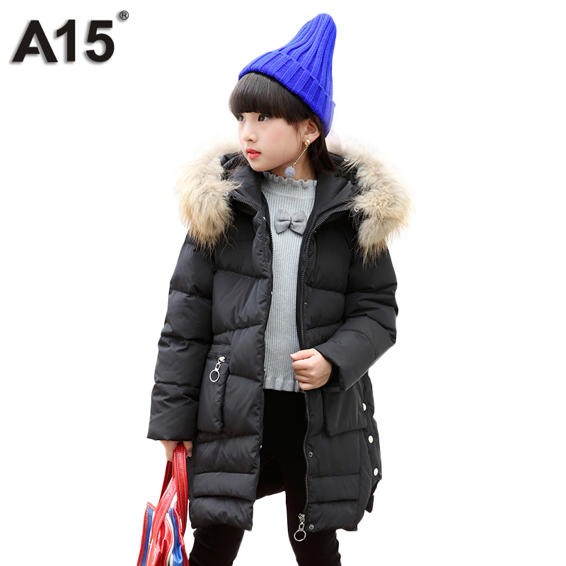 A15 Brand Kids Winter Jacket for Girls Teenager Clothes Russian Children Duck Down Coat Long Big Fur Hooded Warm Outerwear 10 12 a15 girls down jacket 2017 new cold winter thick fur hooded long parkas big girl down jakcet coat teens outerwear overcoat 12 14
