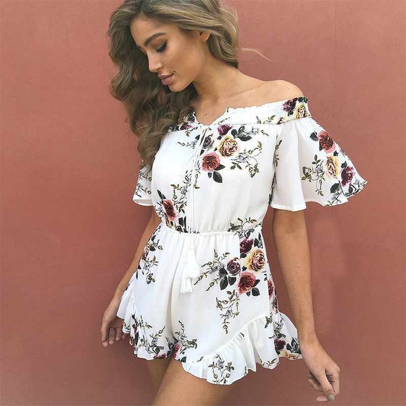 Casual Women Playsuits Rompers Bohemian Floral Print Plunge Spaghetti Strap Rompers Jumpsuits Summer Women Beach Playsuits