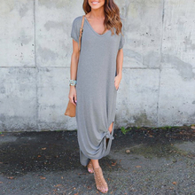 loose soft short sleeve Asymmetric bowknot Women Dress Split causal v neck solid color Evening Party mid calf Summer