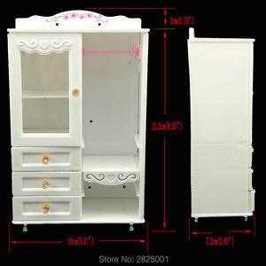 Image 5 - Plastic 1:6 Poppenhuis Meubels Garderobe Beweegbare Lade Wit Kast Slaapkamer Accessoires Kleding Voor Barbie Pop Speelhuis Speelgoed