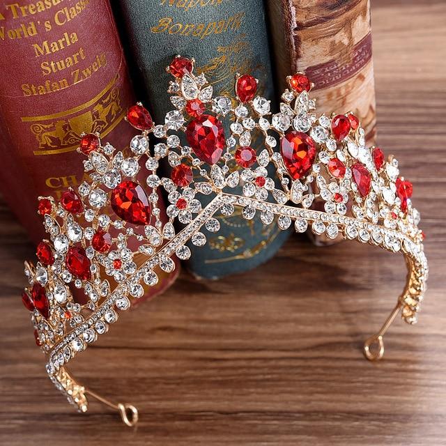DIEZI Baroque Luxury Gold Color Flower Crown Tiaras For Women Crystal Rhinestone Girls Tiaras Bride Wedding Hair Jewelry