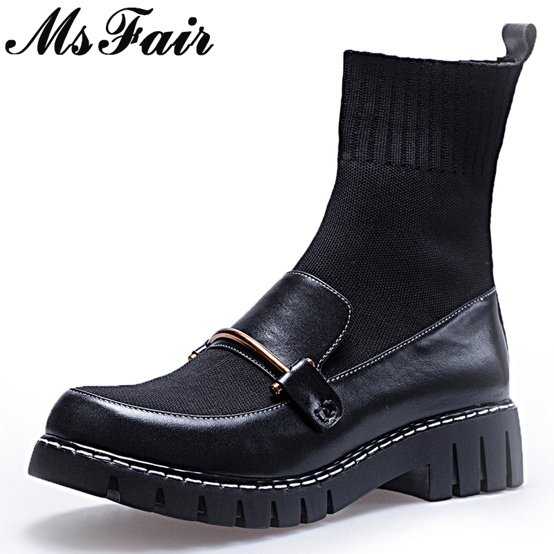 MSFAIR Women Boots Hot Selling Mixed Color Med Heel Ankle Boots Women Shoes Slip On Metal Round Toe Platform Boot Shoes For Girl цена 2017