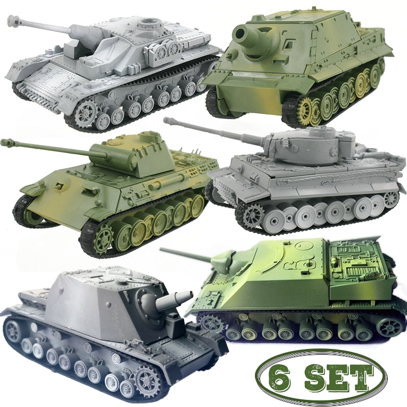 6set Different Tank Model Building Kits Military Assembly Educational Toys Decoration Material Panther Tiger Turmtiger Assault