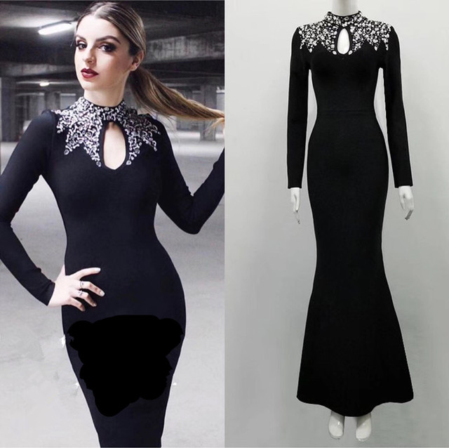 12ab5392d40 Black Elegant Must Have Simple Classy Flare Bottom Long Sleeve High Neck  Beading Long Maxi Celebrity Party Bandage Dress