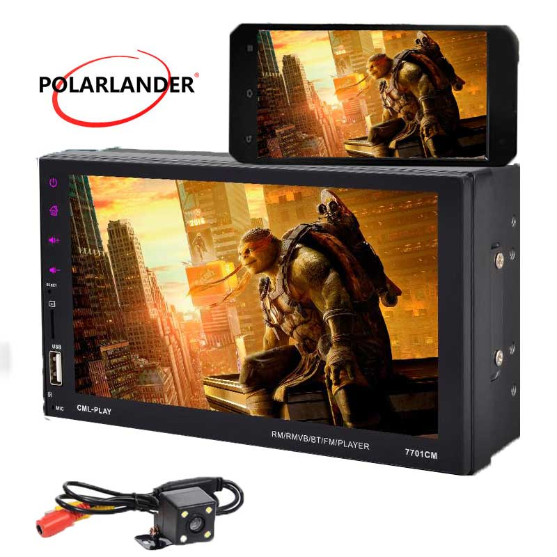 9 languages 7 Touch Screen New 2 din Car radio Bluetooth hands free FM/TF/USB rear view camera GPS Android Phone Mirror Link