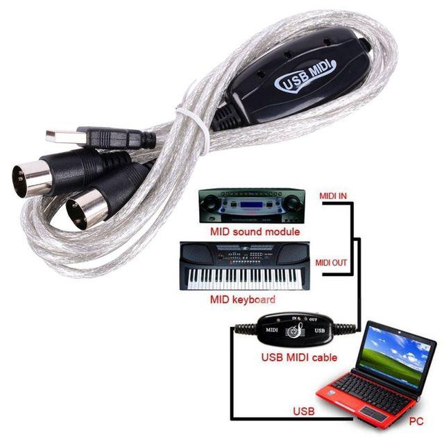 2 Mt USB Klavier zu Orgel Keyboard MIDI Kabel Adapter Konverter Für ...