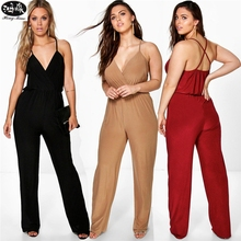 ФОТО women jumpsuit summer sling backless v-neck solid color sexy women jumpsuits female plus sizes 5xl overalls