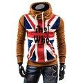Британский Флаг Печати С Капюшоном Мужские Толстовки, Бренд верхней одежды Флис Толстовки Мужчины, Большой Размер Длинные Рукава Пуловеры Мужской Одежды MH09