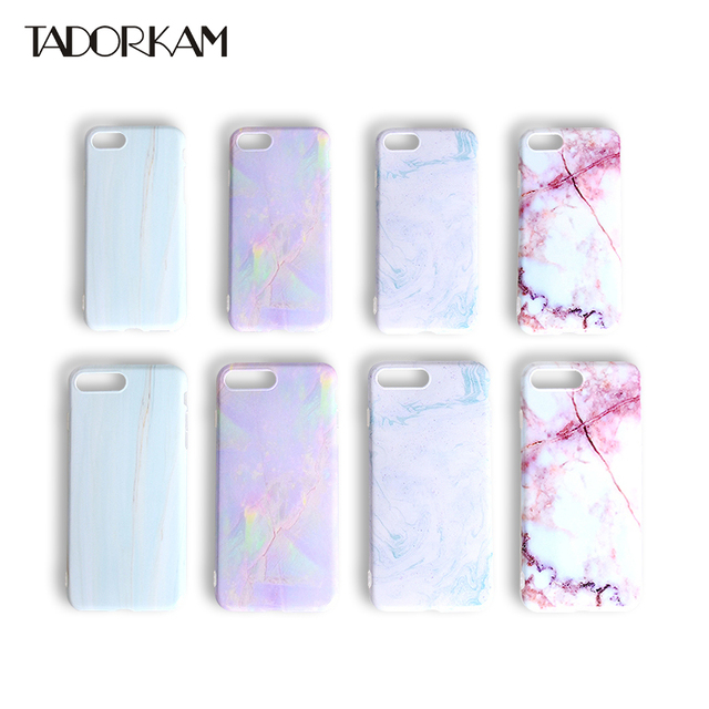 hot sale online ecb4f d09d3 US $2.26 15% OFF|Marble phone cases For iphone 7 7 Plus Case Slim Soft TPU  Smooth Fashion Splice Pattern Granite Texture Phone Back Capa fundas -in ...