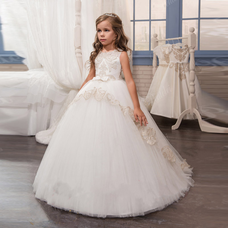 New Customized Flower Girls Dresses For Weddings Tulle Lace Appliques Ball Gown Little Girls Pageant Gown First Communion Dress цена