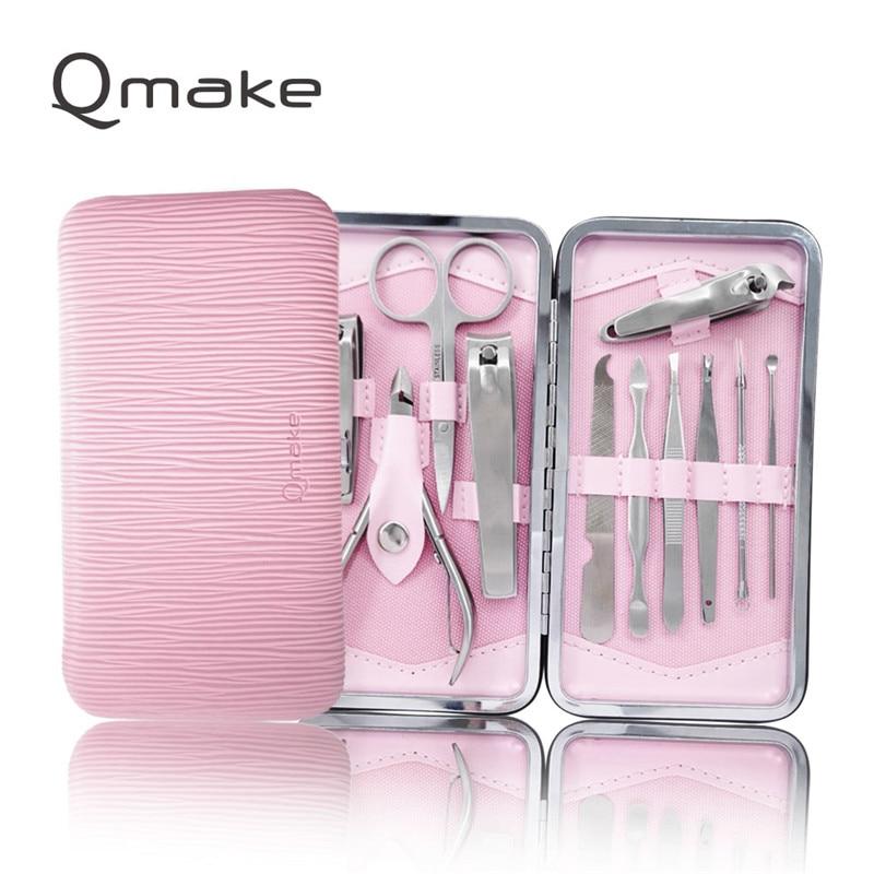 Qmake 11 PCS set of Nail Manicure Tools Nails toe Clipper Scissors Tweezer pedicure kit professional quality Case for travel