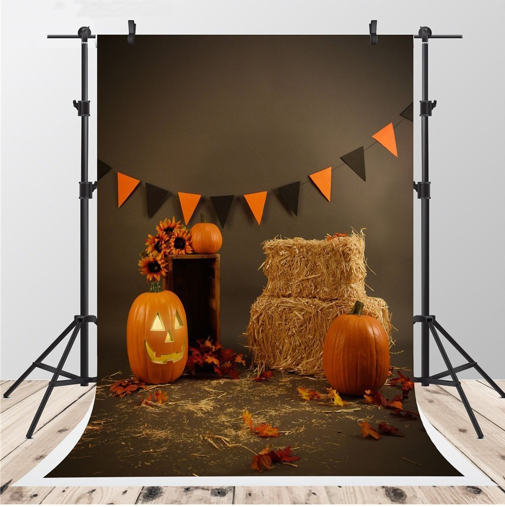 Barn Straw Hay Pumpkins Decorative Banner Gray Leaves background Vinyl cloth High quality Computer print Halloween backdrop some pumpkins