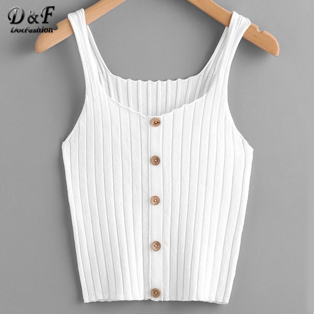 Button Up Rib Knit Plain Top
