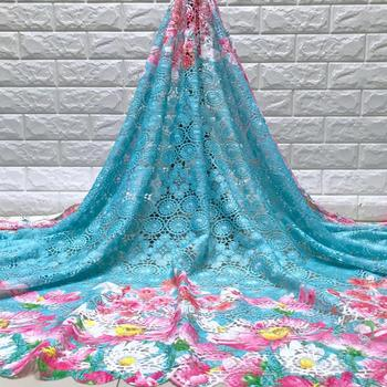 New French Milk Silk Net Lace Fabric 2019 High Quality African Tulle Lace Fabric With Sky Blue For Nigerian Wedding jy-6-19
