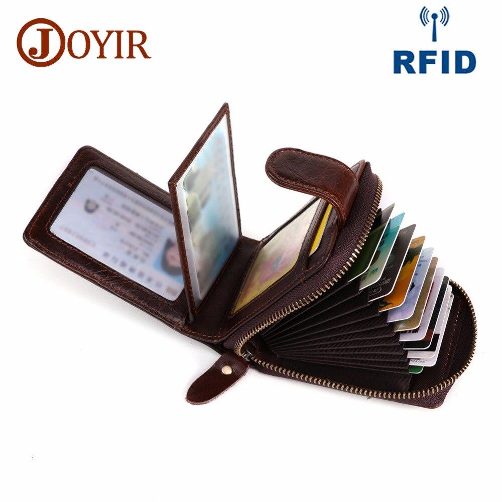 JOYIR Id Titulares de Cartão de Crédito Carteira de Couro Genuíno Homens de Negócios Cartões RFID De Alta Capacidade Carteira Titular de Crédito Bolsa Porte Carte