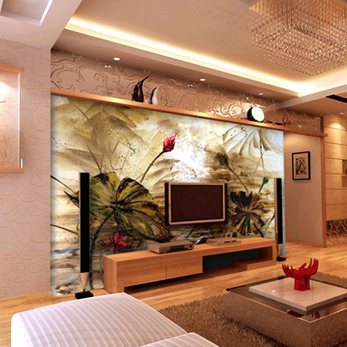 Wallpaper For Living Room 2013 online shop 2013living room sofa background of chinese lotus