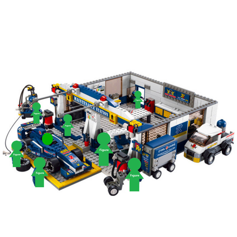 2019 NEW SLUBAN Speed Champions Formula One Team Headquarters Building Blocks Sets Bricks City Model Kids