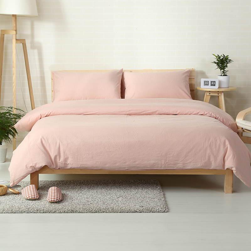 100 Cotton Washed Fabric Vintage Style Light Pink Bed Cover Set 4pcs Solid Color Sheets