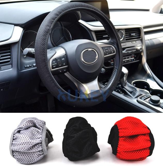 1 Pc respirant voiture Auto élastique fait main antidérapant housse de volant pour l'été utilisation antidérapant 38 cm noir/rouge/gris Cool
