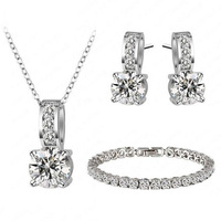 Elegant 3 Pcs Earrings Jewelry Sets High Quality Zircon Crystal Necklace Bracelets For Women Wedding Set