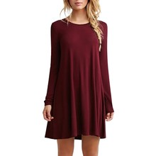 WJ Fashion Autumn Winter Sexy Women Long Sleeve Casual Loose Black Dress Pleated Mini Party Dresses