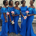 2017 African Long Mermaid Bridesmaid Dresses Royal Blue Sequin Short Sleeves Sparkly Sister Of The Bride Dresses For Weddings