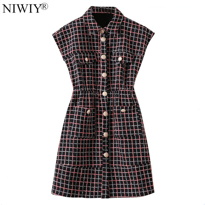 NIWIY Brand Autumn Plaid Women Party Dress Vestidos Casuales Mujer 2019 Sleeveless Glitter Dress Lange Jurken