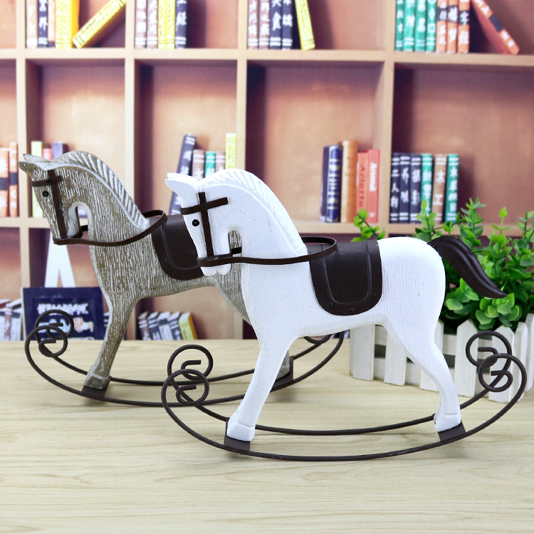 The creative wooden rocking horse ornaments ornaments retro wooden crafts office furnishings furnishings