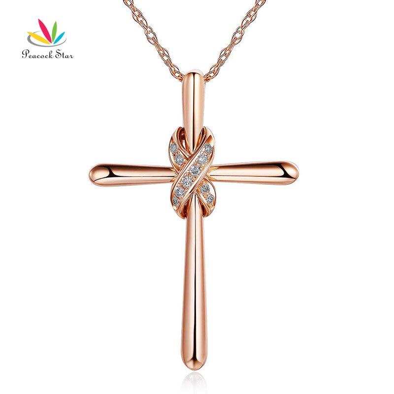Collier pendentif en forme de croix en or Rose 14 K avec étoile de paon, diamants 0.57 Ct