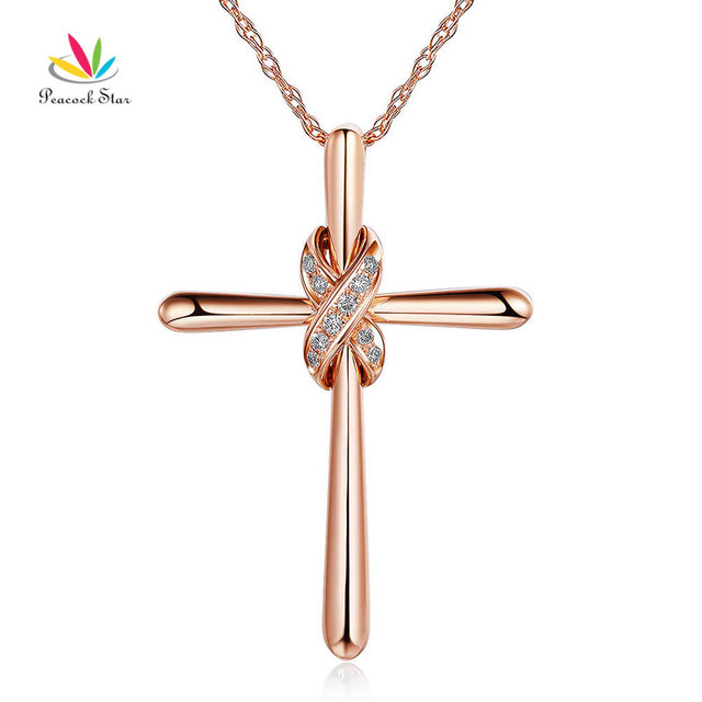 Peacock star 14k rose gold cross pendant necklace 057 ct diamonds peacock star 14k rose gold cross pendant necklace 057 ct diamonds mozeypictures Image collections