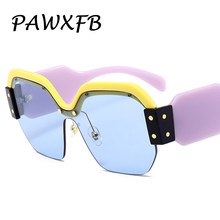 PAWXFB Luxury Italy Brand Designer Oversized Square Sunglasses Women Retro Rimless Blue Sun Glasses Female Gafas de Sol SMU09S(China)