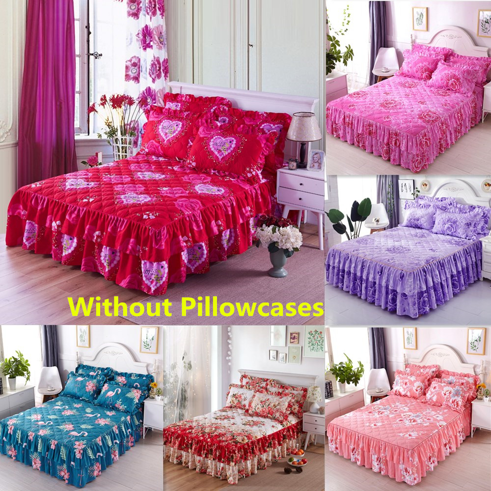 Bed Skirt Quilted Polyester Bed Sheet Printed Bedding Twin Queen King Size BedSpread Bed Cover Set Mattress Cover Couvre Lit